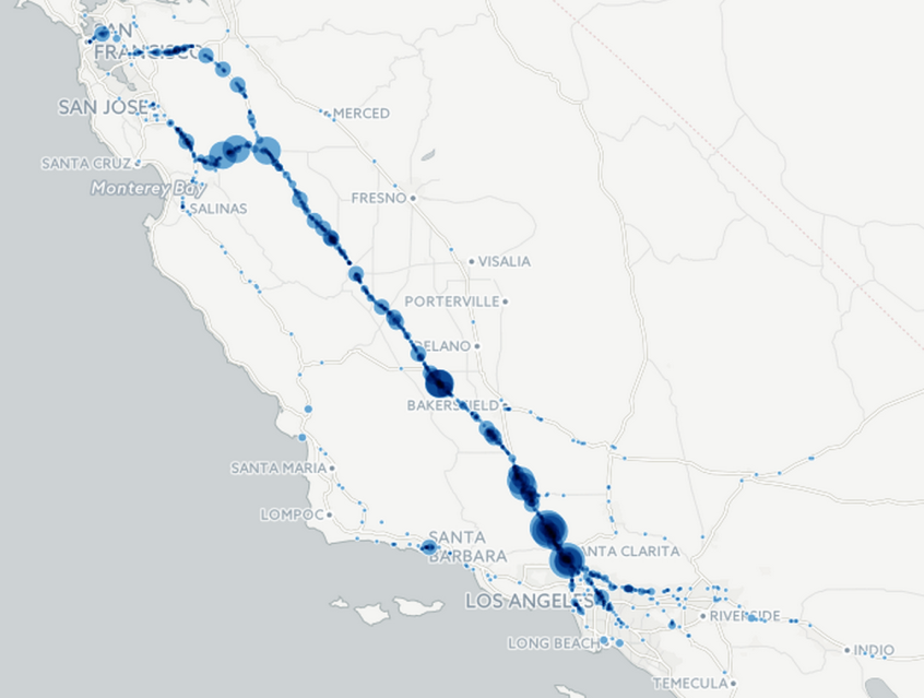A cluster map of alerts from Wazers traveling from the Bay Area to Los Angeles.
